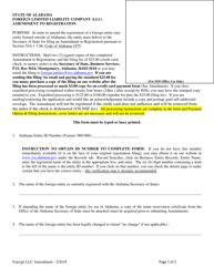 Foreign Limited Liability Company (Llc) Amendment to Registration - Alabama