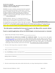 Foreign Corporation (Business or Non-profit) Certificate of Withdrawal - Alabama