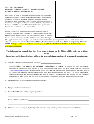 Foreign Limited Liability Company (Llc) Certificate of Withdrawal - Alabama