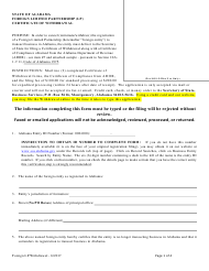 Foreign Limited Partnership (Lp) Certificate of Withdrawal - Alabama