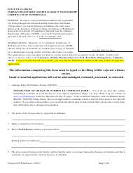 Foreign Registered Limited Liability Partnership Certificate of Withdrawal - Alabama