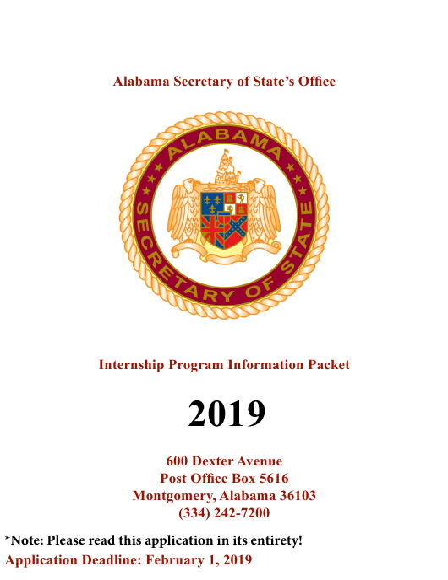 2019 Internship Program Information Packet - Alabama Download Pdf