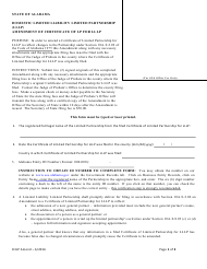 Domestic Limited Liability Limited Partnership (Lllp) Amendment of Certificate of Lp for Lllp - Alabama