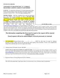 Amendment to Registration as a Foreign Registered Limited Liability Partnership - Alabama