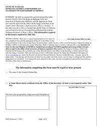 Domestic General Partnership (Gp) Statement of Partnership Authority - Alabama