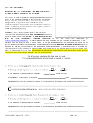 Form F 2F Foreign Entity Amendment to Registration - Certificate/Statement of Merger - Alabama