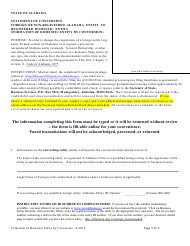 Statement of Conversion Foreign or Non-registered Alabama Entity to Registered Domestic Entity (Formation of Domestic Entity by Conversion) - Alabama