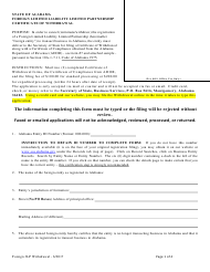 Foreign Limited Liability Limited Partnership Certificate of Withdrawal - Alabama