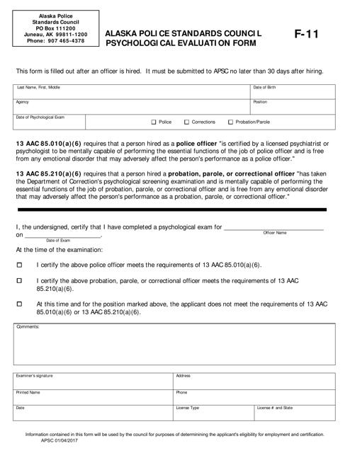 Form F-11  Printable Pdf