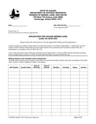 "Form 102-4062 ""Application for Upland Mining Lease"" - Alaska"