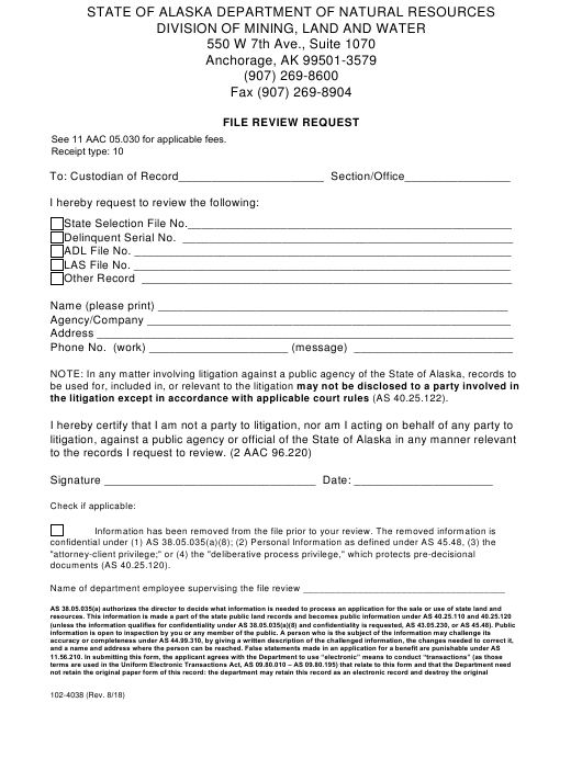 Form 102-4038 Download Printable PDF, File Review Request