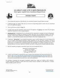 """Form 102-4005B """"Joint Agency Aquatic Farm Amendment Request Form - Alaska's Aquatic Farm Program"""" - Alaska"""