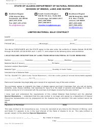 """Form 102-100 """"Limited Material Sale Contract"""" - Alaska"""