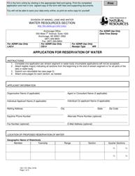 "Form 102-1151 ""Application for Reservation of Water"" - Alaska"