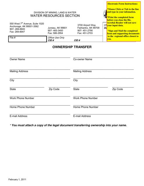"""Ownership Transfer Form"" - Alaska Download Pdf"