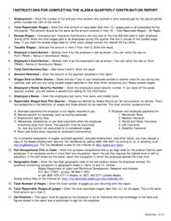 "Instructions for Form TQ01B, TQ01C ""Alaska Quarterly Contribution Report"" - Alaska"