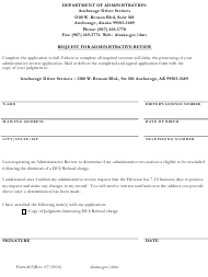 Form 405 Request for Administrative Review - Alaska