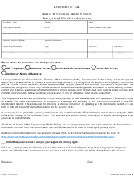 "Form CETA-08 ""Background Check Authorization"" - Alaska"