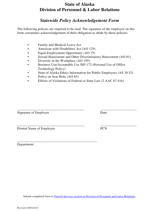 """""""Statewide Policy Acknowledgement Form"""" - Alaska Download Pdf"""