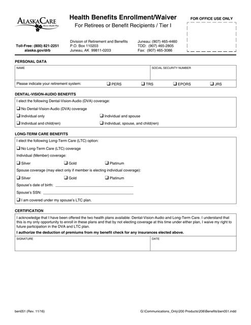 Form BEN051  Printable Pdf