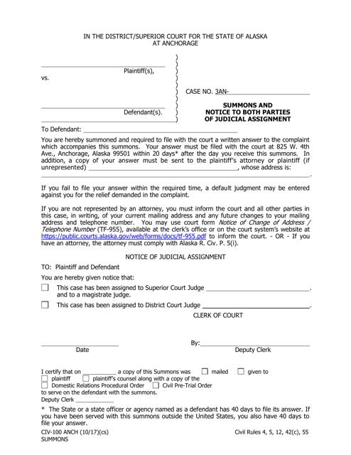 Form CIV-100 ANCH  Printable Pdf