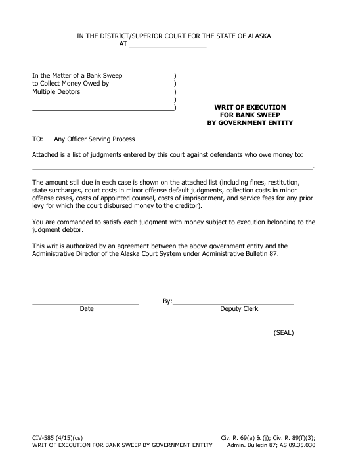 Form CIV-585  Printable Pdf