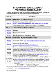 """Form CIV-750 """"Stalking or Sexual Assault Protective Order Packet"""" - Alaska"""