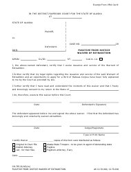"""Form Cr-755 """"Fugitive From Justice Waiver of Extradition"""" - Alaska"""