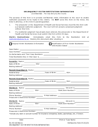 Form DL-152 Delinquency Victim Restitution Information - Alaska