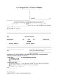 Form DR-257 Request to Waive Parent Education Requirement - Alaska