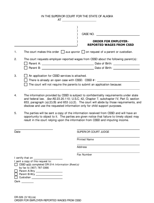 Form DR-326 Fillable Pdf