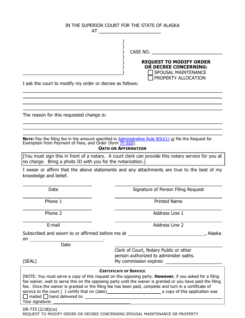 Form DR-735 Fillable Pdf
