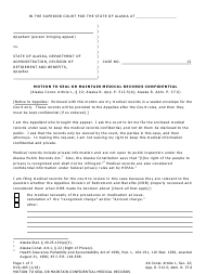 Form HCA-405 Motion to Seal or Maintain Confidential Medical Records - Alaska