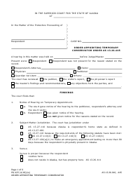 Form PG-425 Order Appointing Temporary Conservator Under as 13.26.445 - Alaska