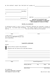 "Form SC-5 ""Notice to Plaintiff and Plaintiff's Response to Request for Change of Place of Trial"" - Alaska"