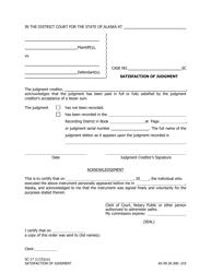 Form SC-17 Satisfaction of Judgment - Alaska