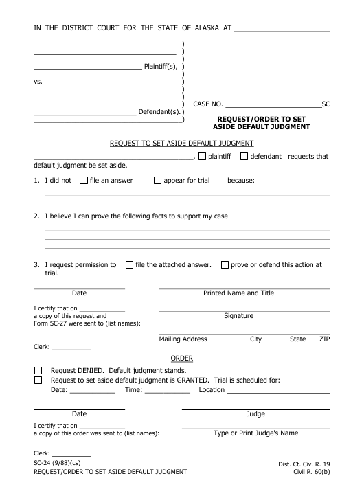 Form SC-24 Download Fillable PDF, Request/Order to Set Aside ... on complaint form sample, admission form sample, company profile sample, privacy policy sample, enquiry form sample, registration form sample, feedback form sample, contact information form sample,