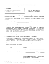 "Form TR-102M ""Request and Affidavit for Default Judgment"" - Alaska"