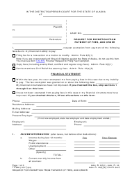 "Form TF-920 ""Request for Exemption From Payment of Fees, and Order"" - Alaska"