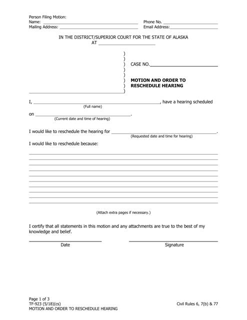 Form TF-923 Fillable Pdf