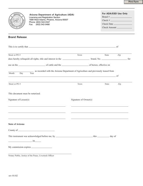 """Brand Release Form"" - Arizona Download Pdf"