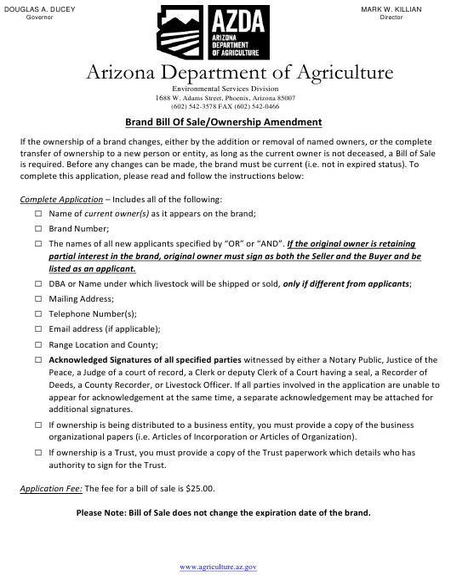 """""""Brand Bill of Sale/Ownership Amendment"""" - Arizona Download Pdf"""
