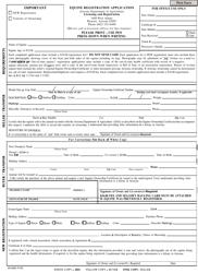 """Equine Registration Application Form"" - Arizona"