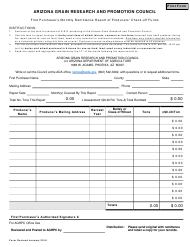 """""""First Purchaser's Monthly Remittance Report of Producers' Check-Off Funds - Arizona Grain Research and Promotion Council"""" - Arizona"""