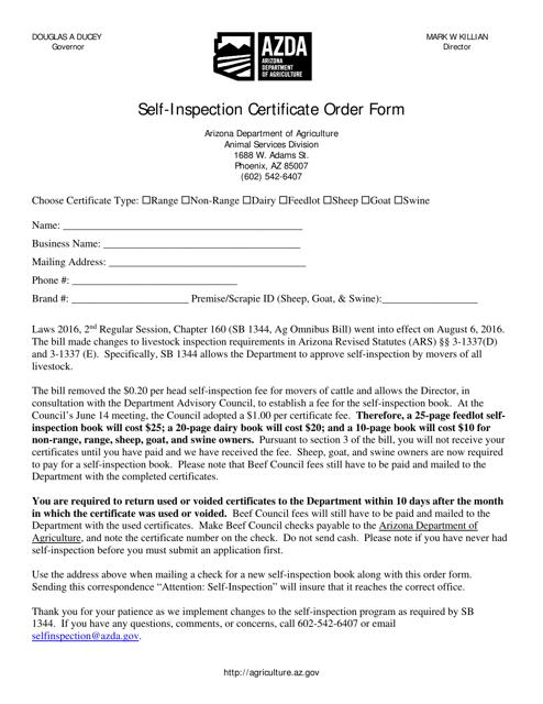 """Self-inspection Certificate Order Form"" - Arizona Download Pdf"