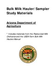 """""""Bulk Milk Hauler/Sampler Study Materials"""" - Arizona"""
