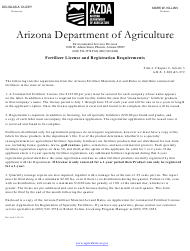 """""""Application for Registration of Specialty Fertilizers"""" - Arizona"""