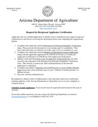 """Request for Reciprocal License"" - Arizona"