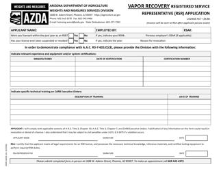 "Form DWM-162VR ""Vapor Recovery Registered Service Representative (Rsr) Application"" - Arizona"