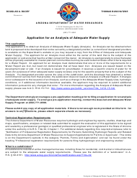 """Analysis of Adequate Water Supply Application Form"" - Arizona"
